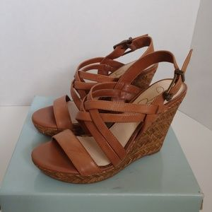 Jessica Simpson Julita Brown Wedge Sandals 9M NEW